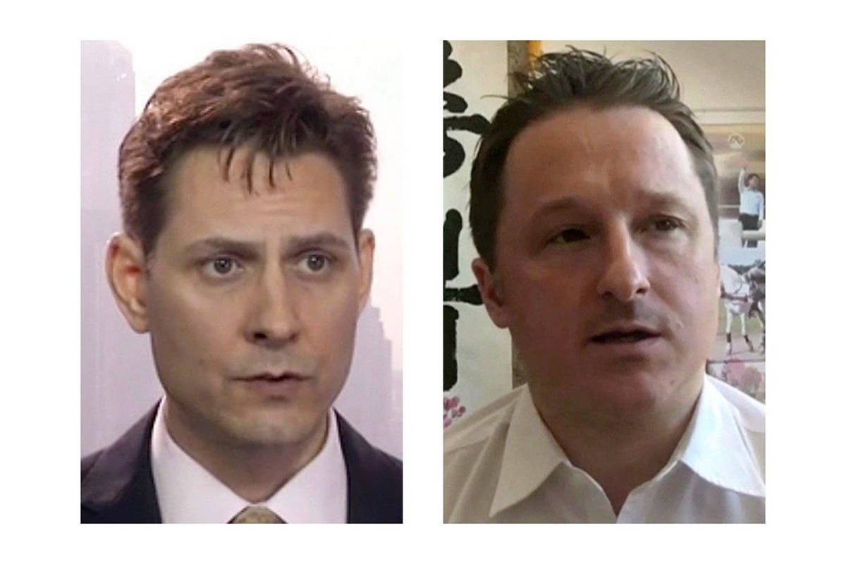 Michael Kovrig (left) and Michael Spavor, the two Canadians detained in China, are shown in these 2018 images taken from video. THE CANADIAN PRESS/AP