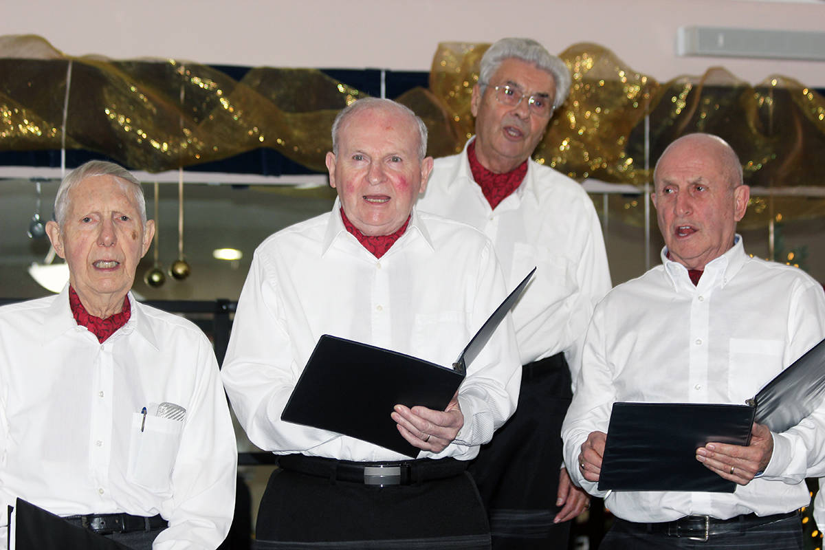 Centremen Songsters perform some seasonal favourites during Christmas dinner at the Chemainus 55+ Activity Centre Saturday. (Photo by Don Bodger)
