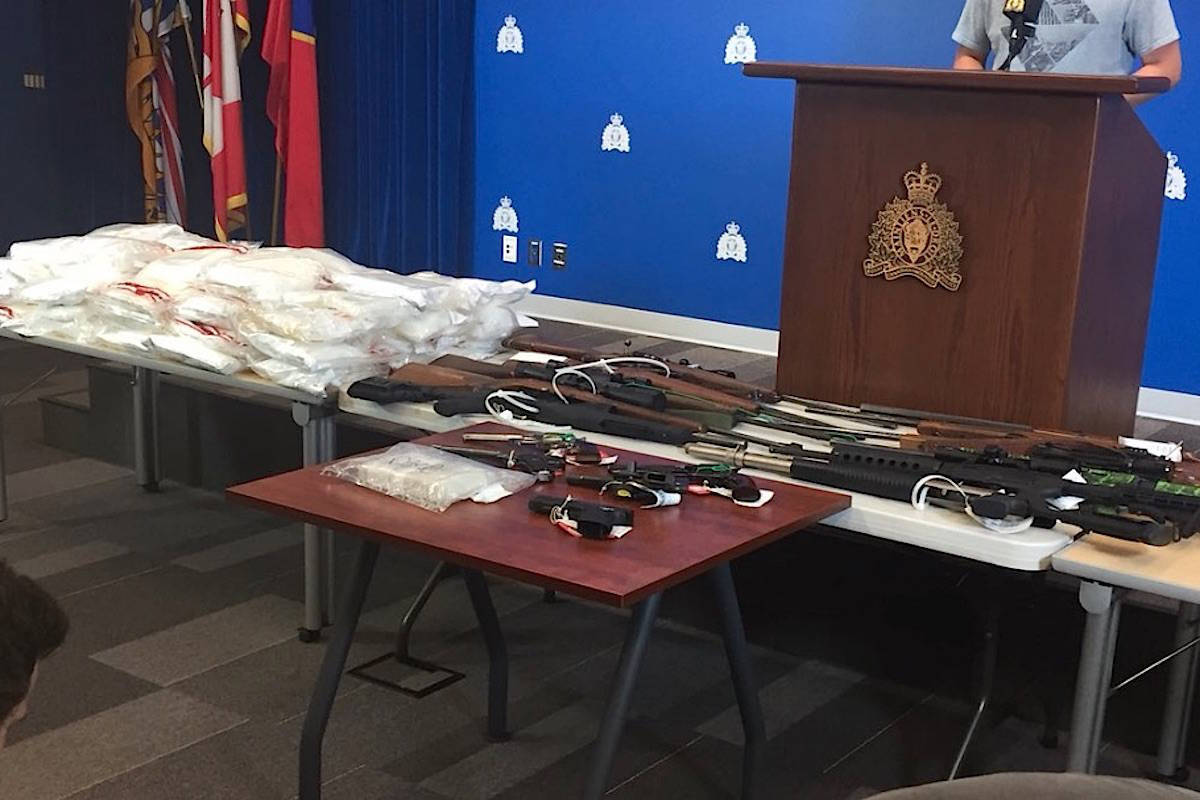 Police seized more than 55 kilograms of cocaine, 47 kilograms of methamphetamine, one kilogram of heroin, 15 firearms, $150,000 in cash and a large-capacity magazine from the home of William Milton Barnes. Lawyers made a joint submission for a nine-year jail sentence for the Saanich man, who plead guilty to four of 11 charges against him. (Kat Slepian/Black Press Media)