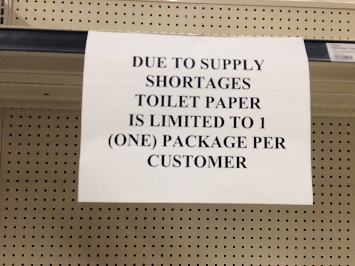 Empty shelves have been greeting Cowichan shoppers looking to buy toilet paper. Most grocery stores have begun limiting the number of packages each person can buy to curb hoarding. (Andrea Rondeau/Citizen)
