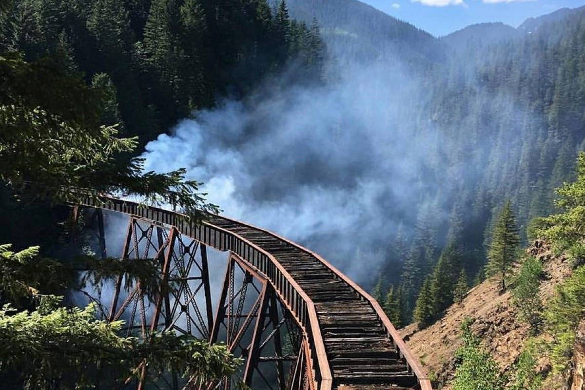 The Ladner Creek Trestle in 2018, after a fire began below the bridge. A hiker is now warning fellow outdoor enthusiasts after an encounter with a man displaying erratic behaviour at the bridge. Facebook photo