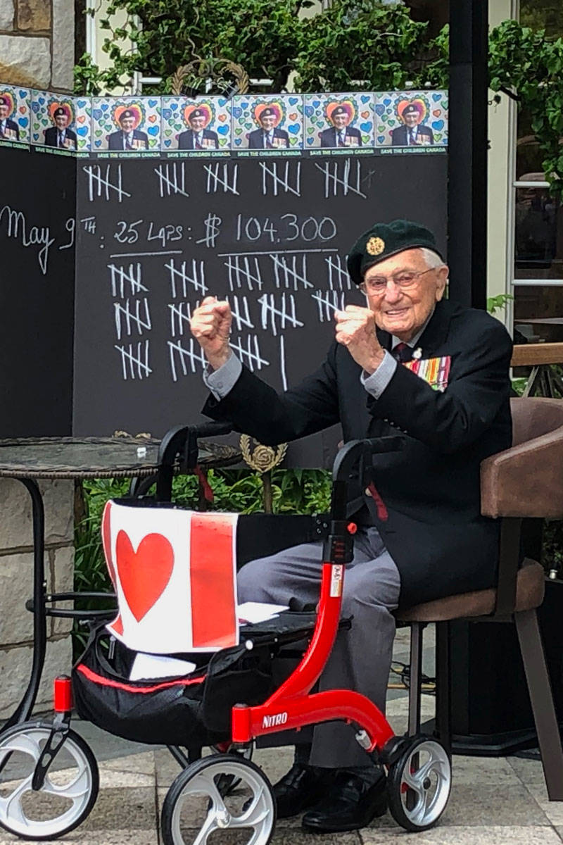 John Hillman, 101, completed his 101st lap for charity on May 16. (Devon Bidal/News Staff)