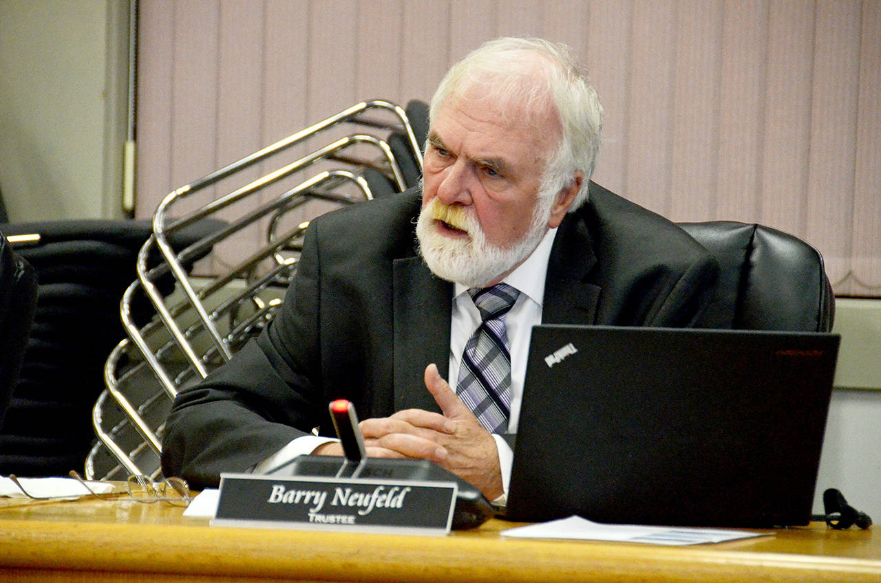 Chilliwack school board trustee Barry Neufeld at the board's last meeting before the Oct. 20, 2018 election. Neufeld has gotten into hot water with another Facebook post recently, setting his sites on Dr. Theresa Tam. (Paul Henderson/ Black Press file)