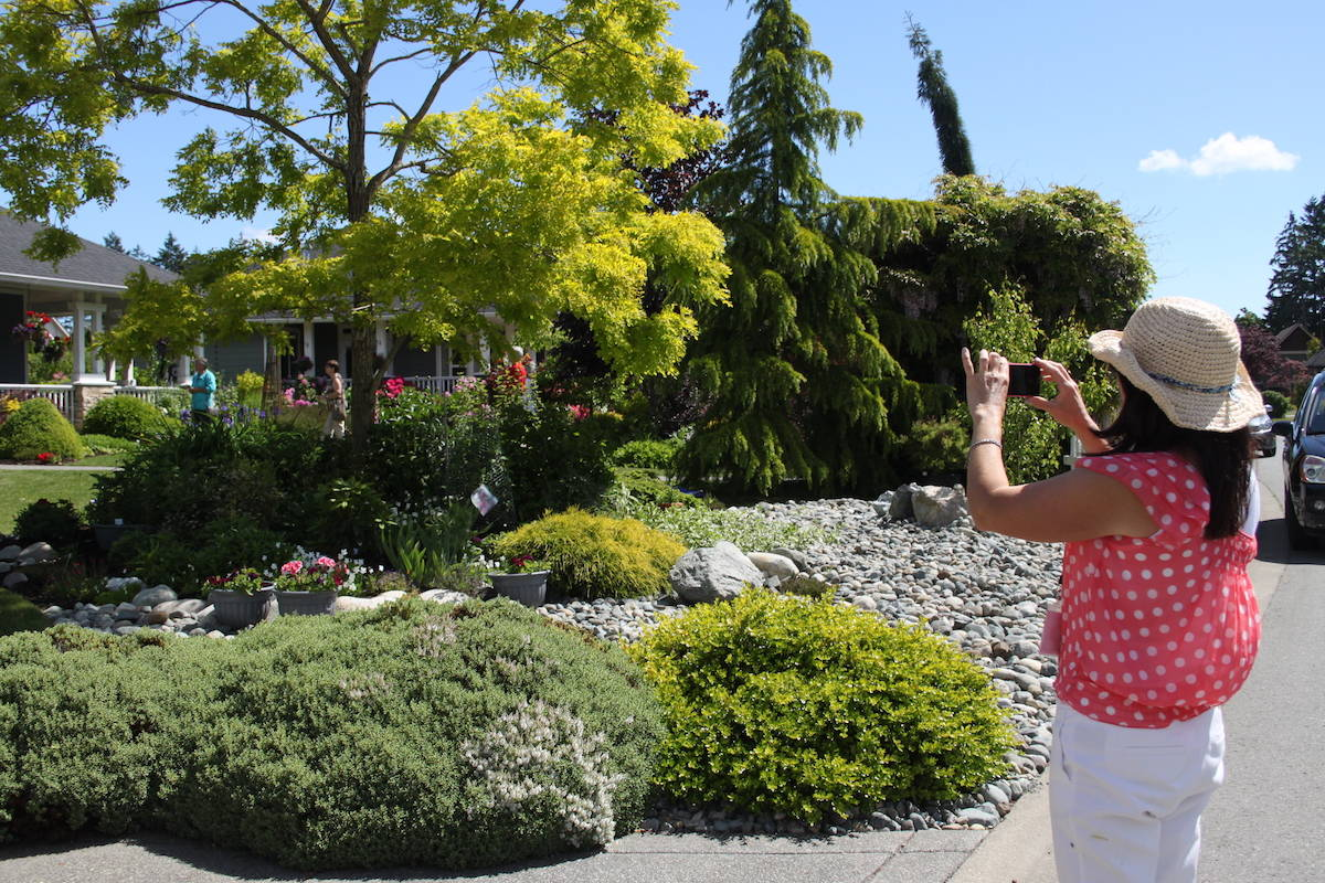 Gail Andersen captures the moment during Cowichan Family Life's 23rd Annual Cowichan Valley Garden Tour. This year's tour had to be cancelled due to COVID-19. (Andrea Rondeau/Citizen)