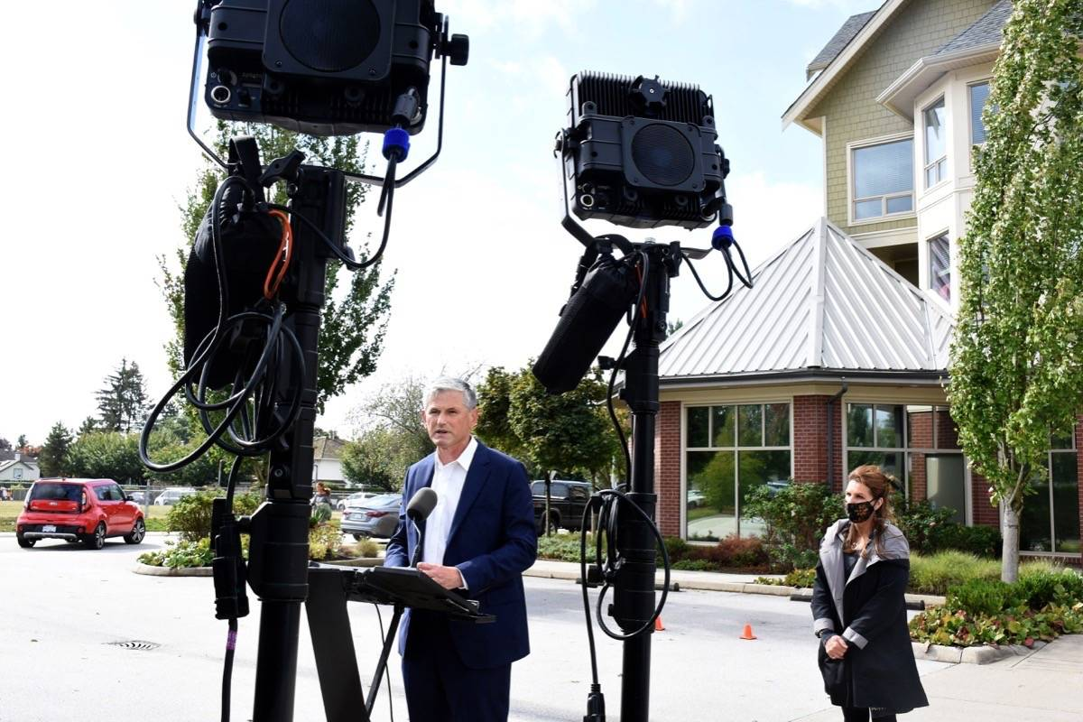 BC Liberal Leader Andrew Wilkinson during a campaign stop in Pitt Meadows Thursday afternoon with Maple Ridge-Pitt Meadows candidate Cheryl Ashlie. (Colleen Flanagan/The News)