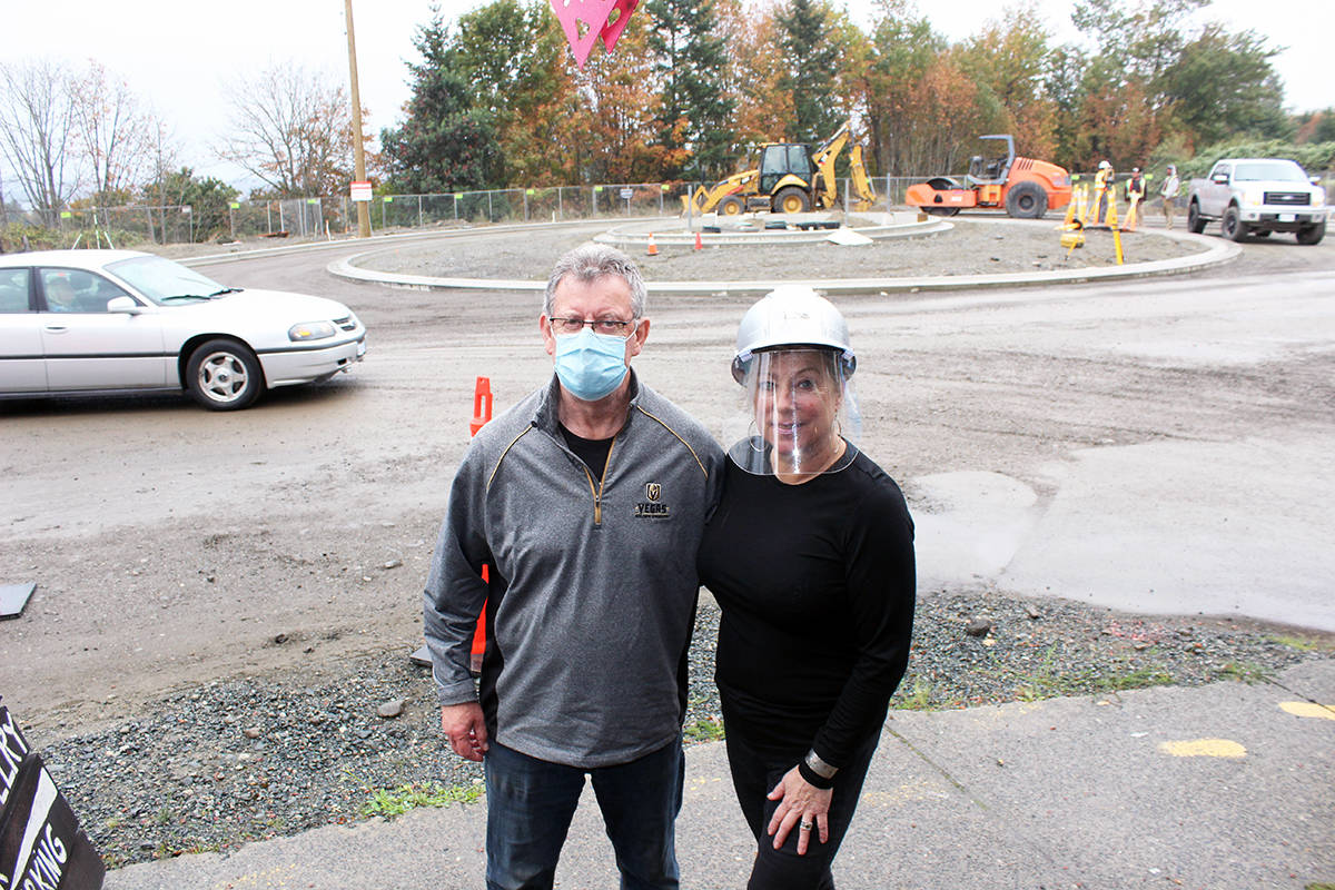 The new River Road roundabout will be right across from Ian Simpson and Barbara Bond at Silvermine on Chemainus. (Photo by Don Bodger)