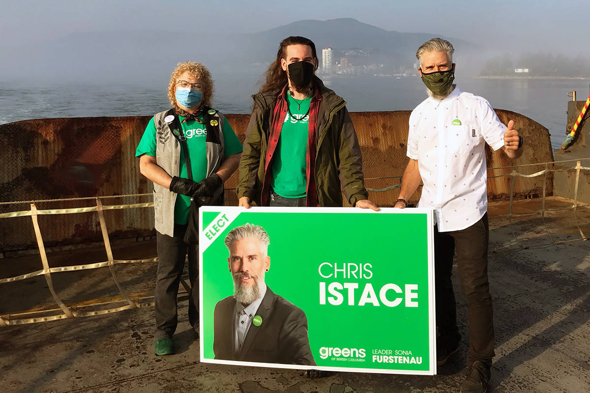 BC Green Party candidate Chris Istace on the ferry to Gabriola Island for some campaigning. (Photo submitted)