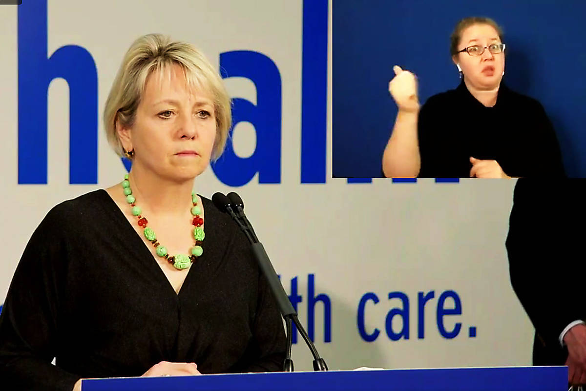 Provincial Health Officer Dr. Bonnie Henry speaks at a news conference at Fraser Health office, where new gathering restrictions have been imposed, Oct. 29, 2020. (B.C. government/Facebook)