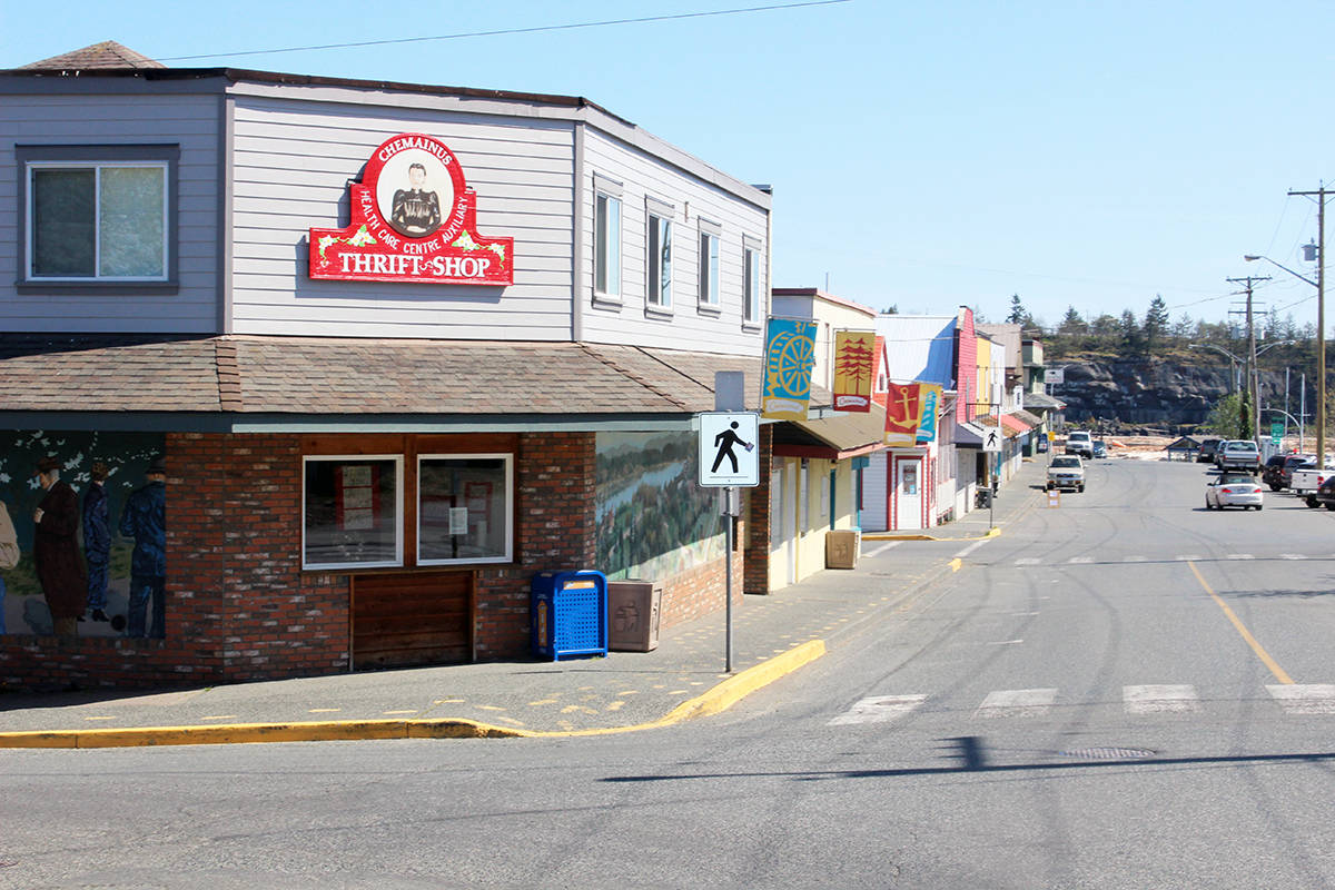 The block where the Chemainus Health Care Auxiliary Thrift Shop sits is going to be quiet again with the closing of the thrift shop Saturday. (Photo by Don Bodger)