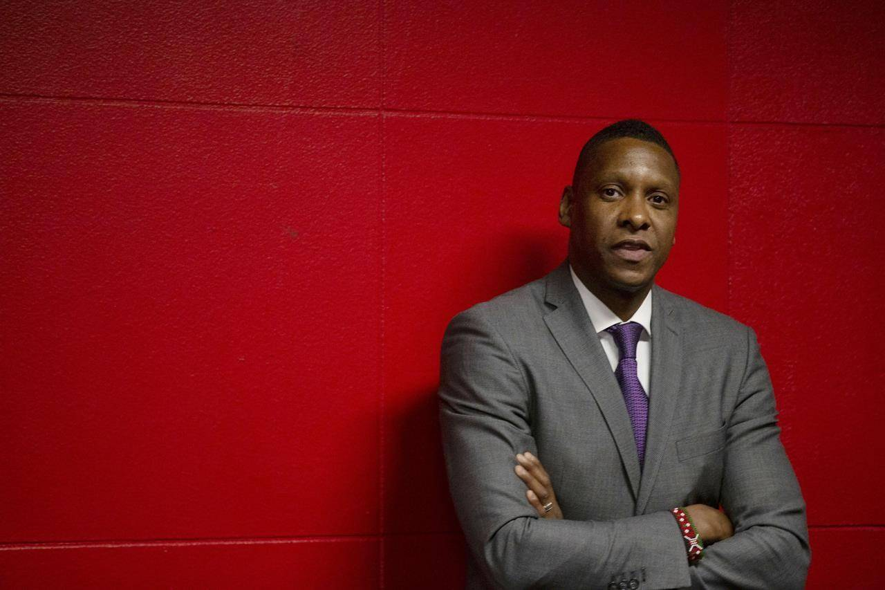 Toronto Raptors President Masai Ujiri is seen in the tunnel area ahead of NBA basketball action against New Orleans Pelicans, in Toronto, Tuesday, Oct. 22, 2019. The Toronto Raptors are the only NBA team forced to play outside of their home market this season, but Ujiri says the club is doing everything it can to help players feel comfortable in Tampa. THE CANADIAN PRESS/Chris Young