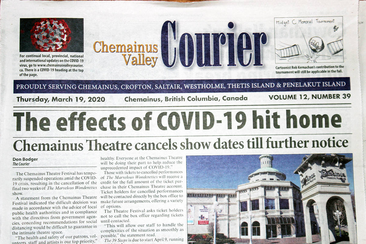 The front page of the Courier on March 19 marked the time when everything changed. (Photo by Don Bodger)