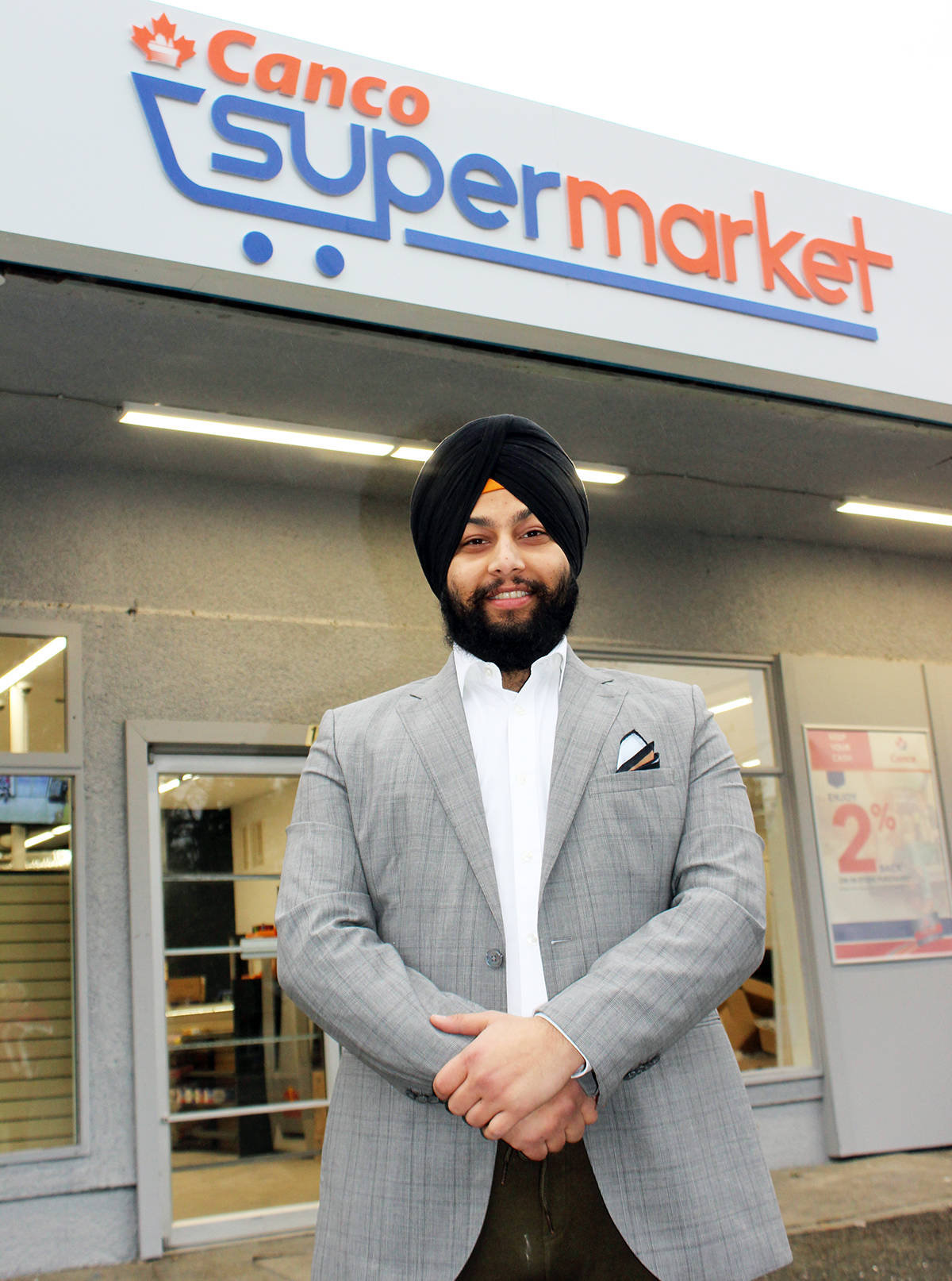 Friday was opening day for Drisht Preet (DP) Singh at Saltair's Canco Supermarket. (Photo by Don Bodger)