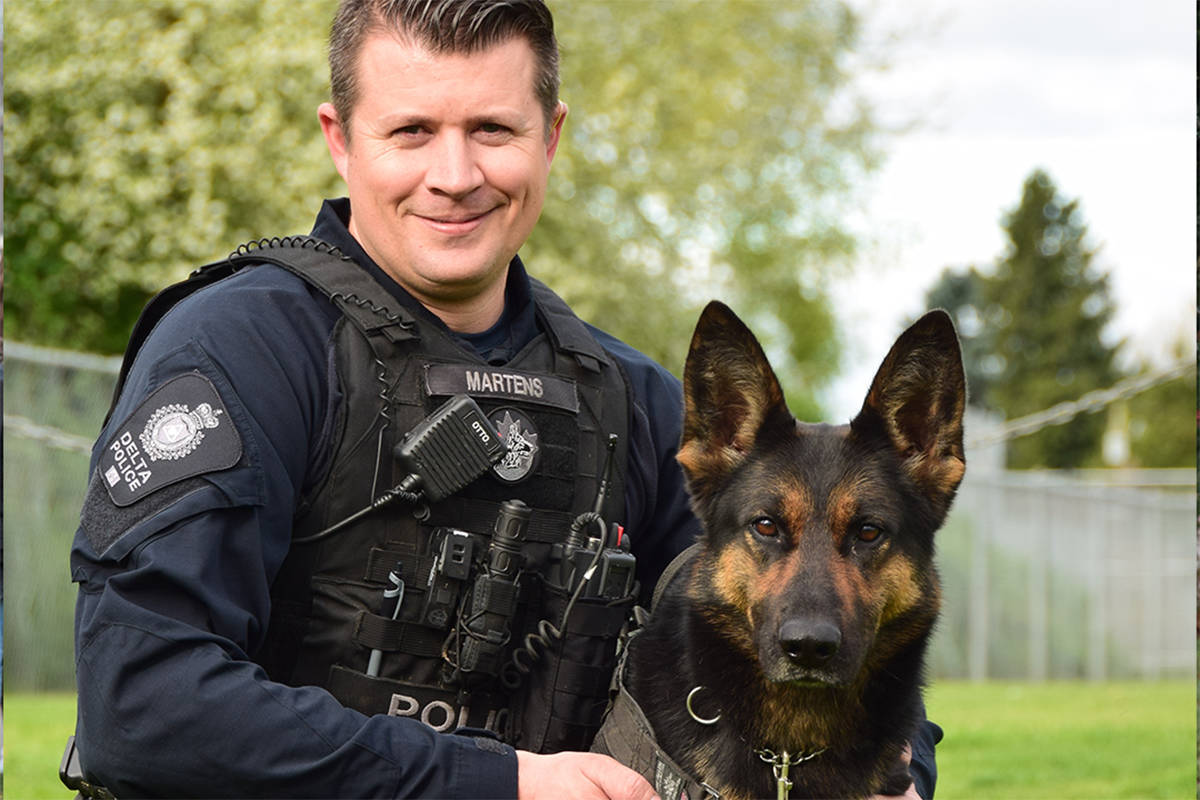 Delta Police Constable Jason Martens and Dezi, a nine-year-old German Shepherd that recently retired after 10 years with Delta Police. (Photo submitted)