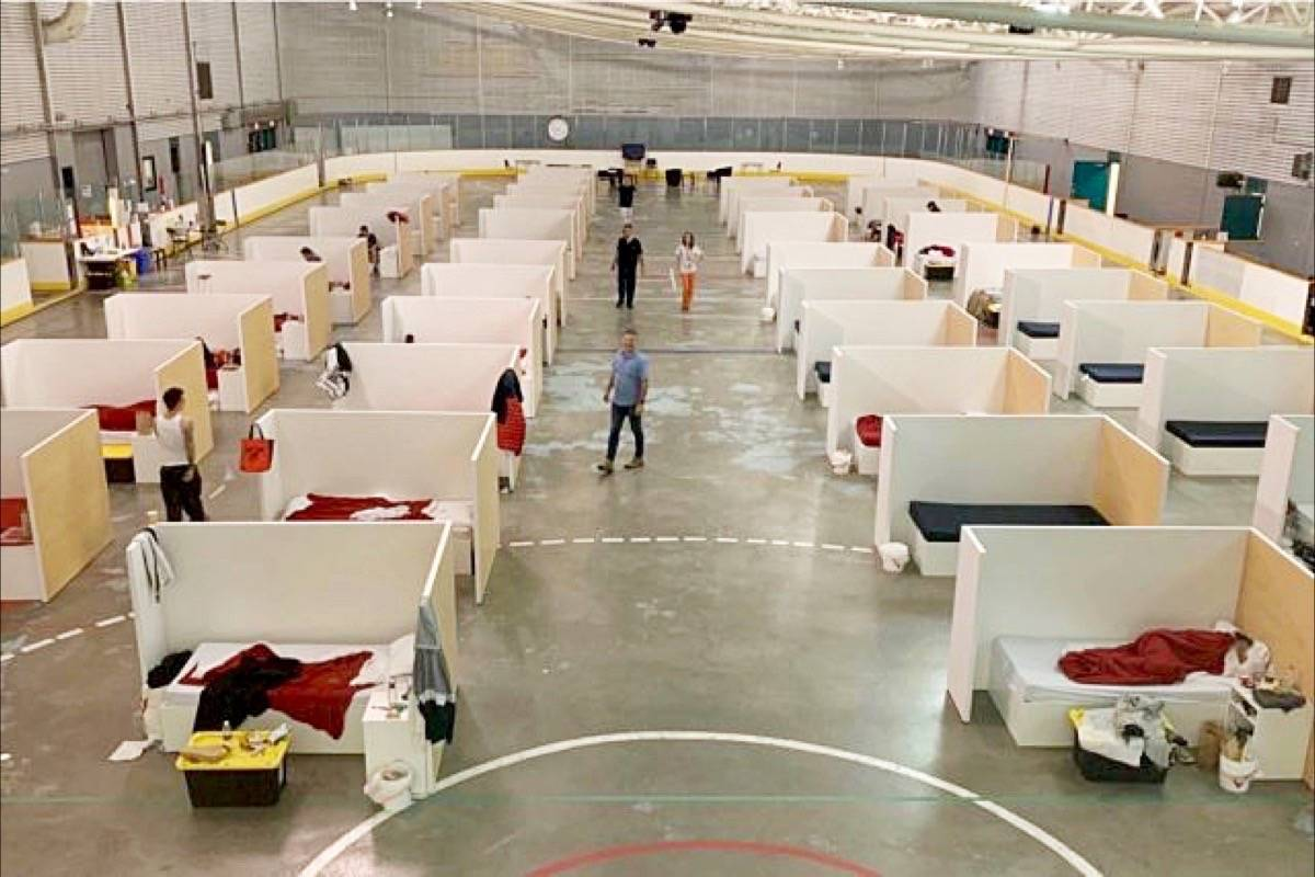 Temporary shelter at North Surrey Recreation Centre is one of the shelter locations that has dealt with COVID-19 outbreaks. (Surrey Now-Leader)