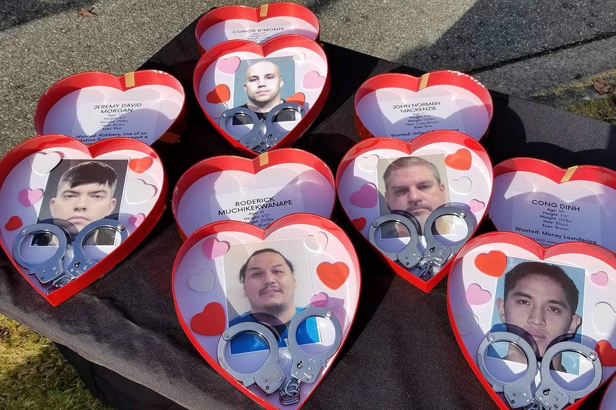 """Some of Metro Vancouver Crime Stoppers' """"least-wanted Valentines"""" for 2021 displayed on a table at a media event in Surrey on Monday morning, Feb. 8. (submitted photo: Metro Vancouver Crime Stoppers)"""