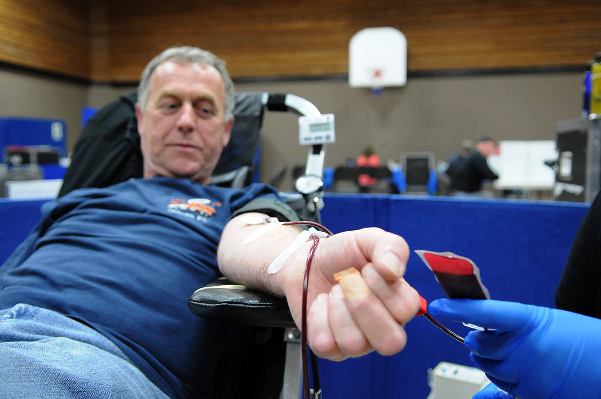 Ross Yaxley of Chilliwack made his 100th blood donation on May 27, 2013. Sunday, Feb. 14, 2021 is Donor Day. (Jenna Hauck/ Chilliwack Progress file)