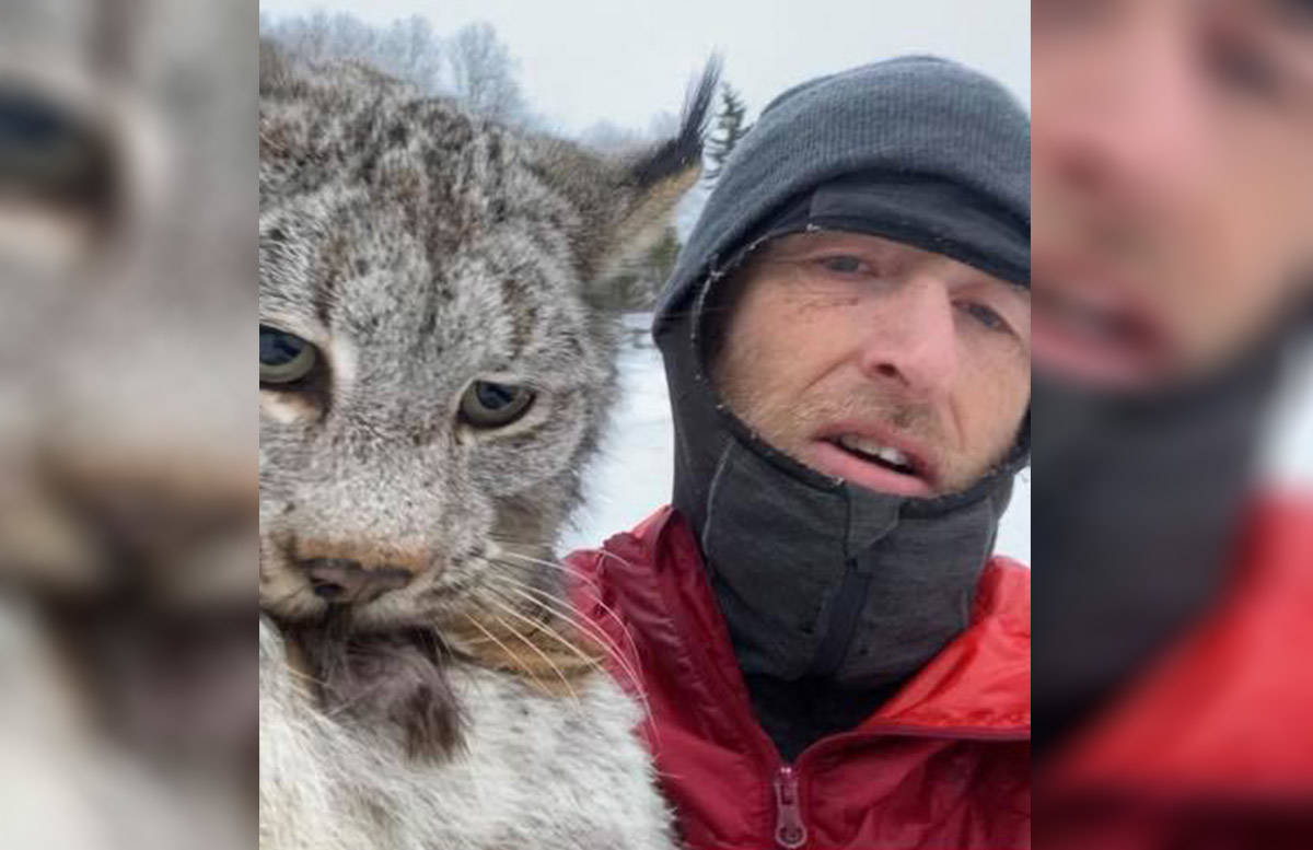 Chris Paulson of Burns Lake took a quick selfie with a lynx over the weekend of Feb. 20-22, 2021, after the wild cat was found eating some of his chickens. (Chris Paulson/Facebook)