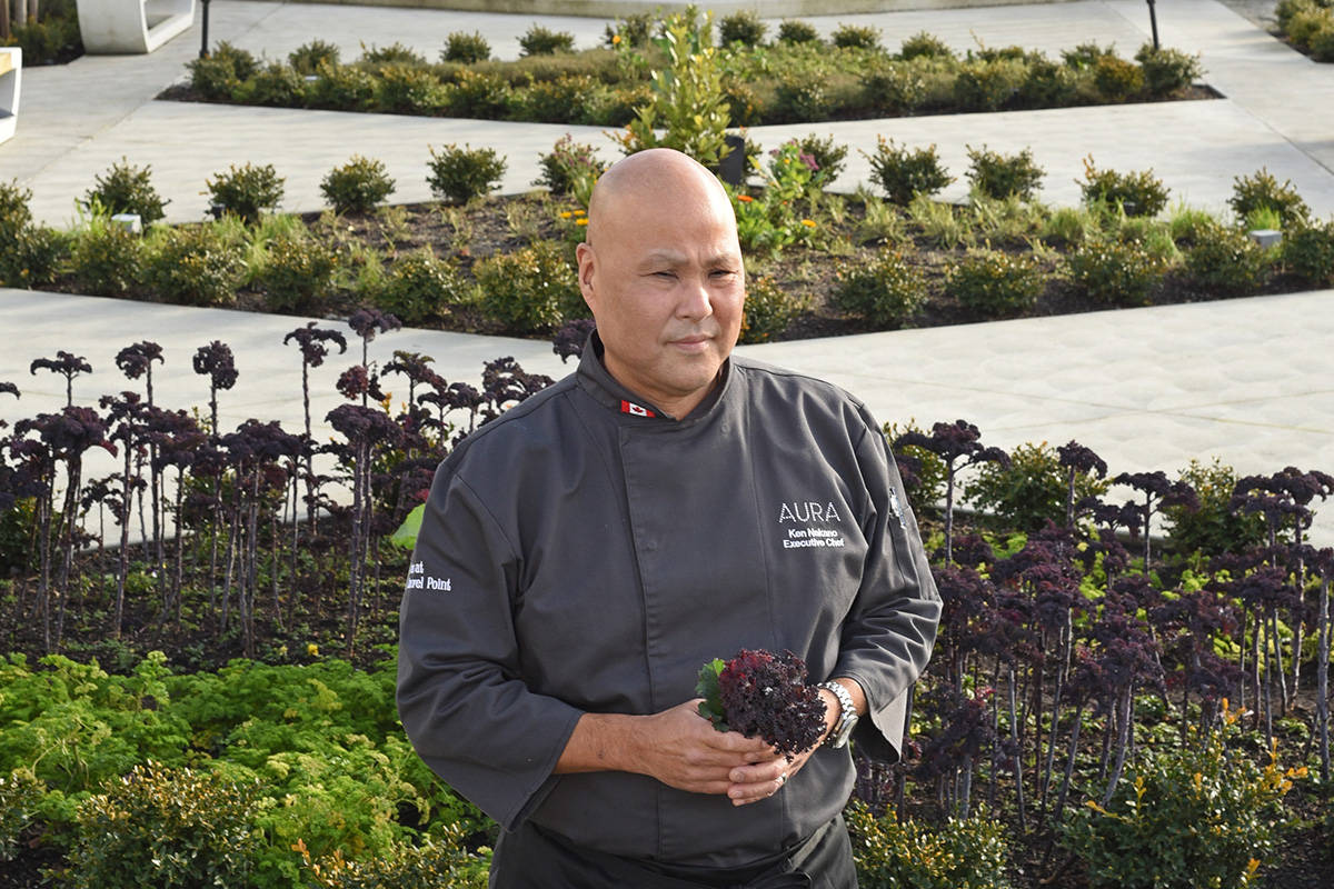 January 14, 2021 - Executive Chef Ken Nakano from Aura restaurant and the Inn at Laurel Point in the herbs and greens garden outside the hotel.  Don Denton photo