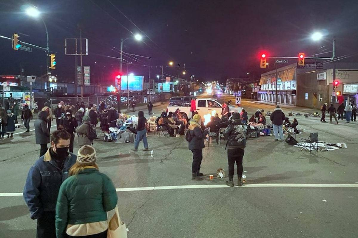 Beginning late Tuesday, anti-pipeline protesters blocked the intersection of Hastings Street and Clark Drive in Vancouver. (Instagram/Braidedwarriors)