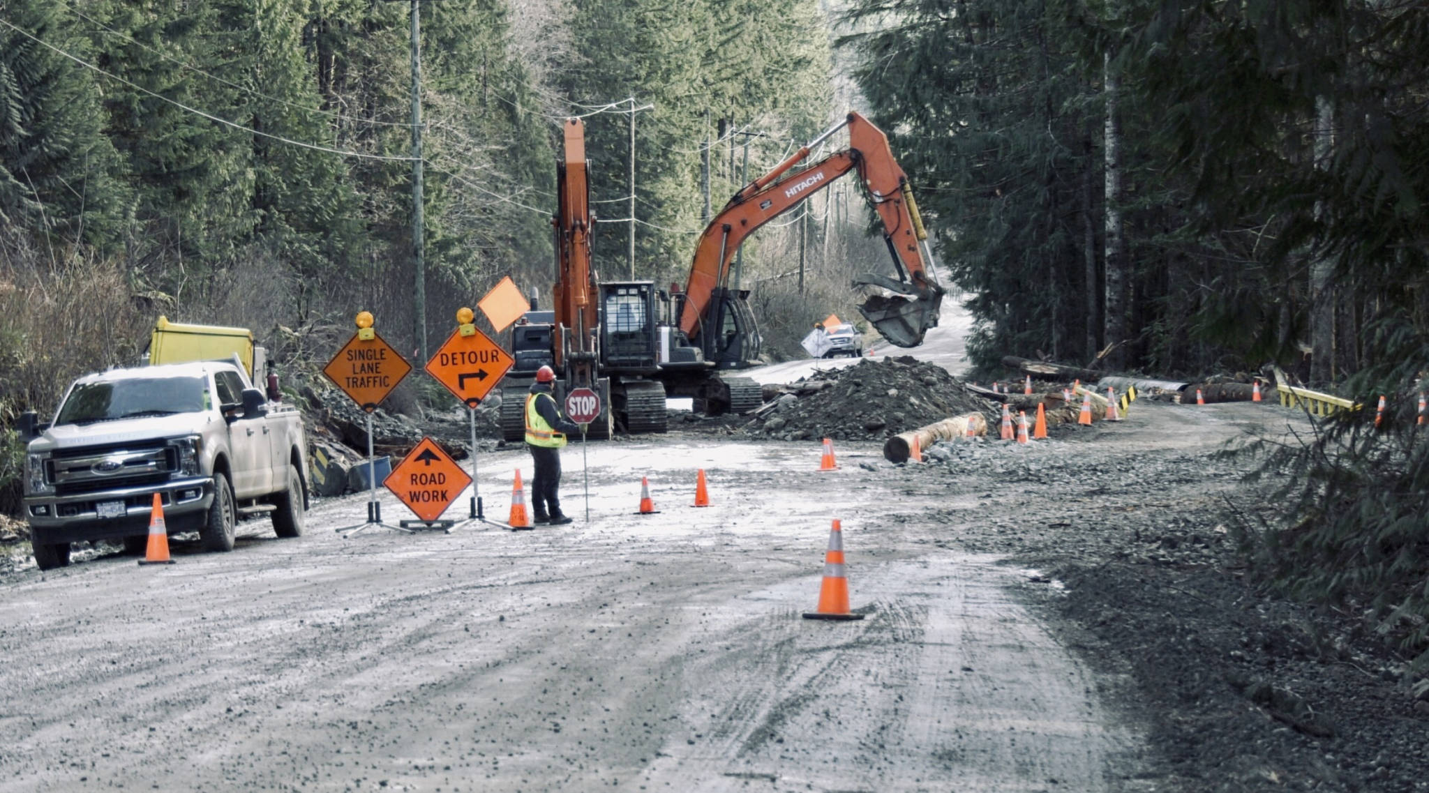 Construction takes place on Bamfield Main in early February 2021. (PHOTO COURTESY CTV NEWS)