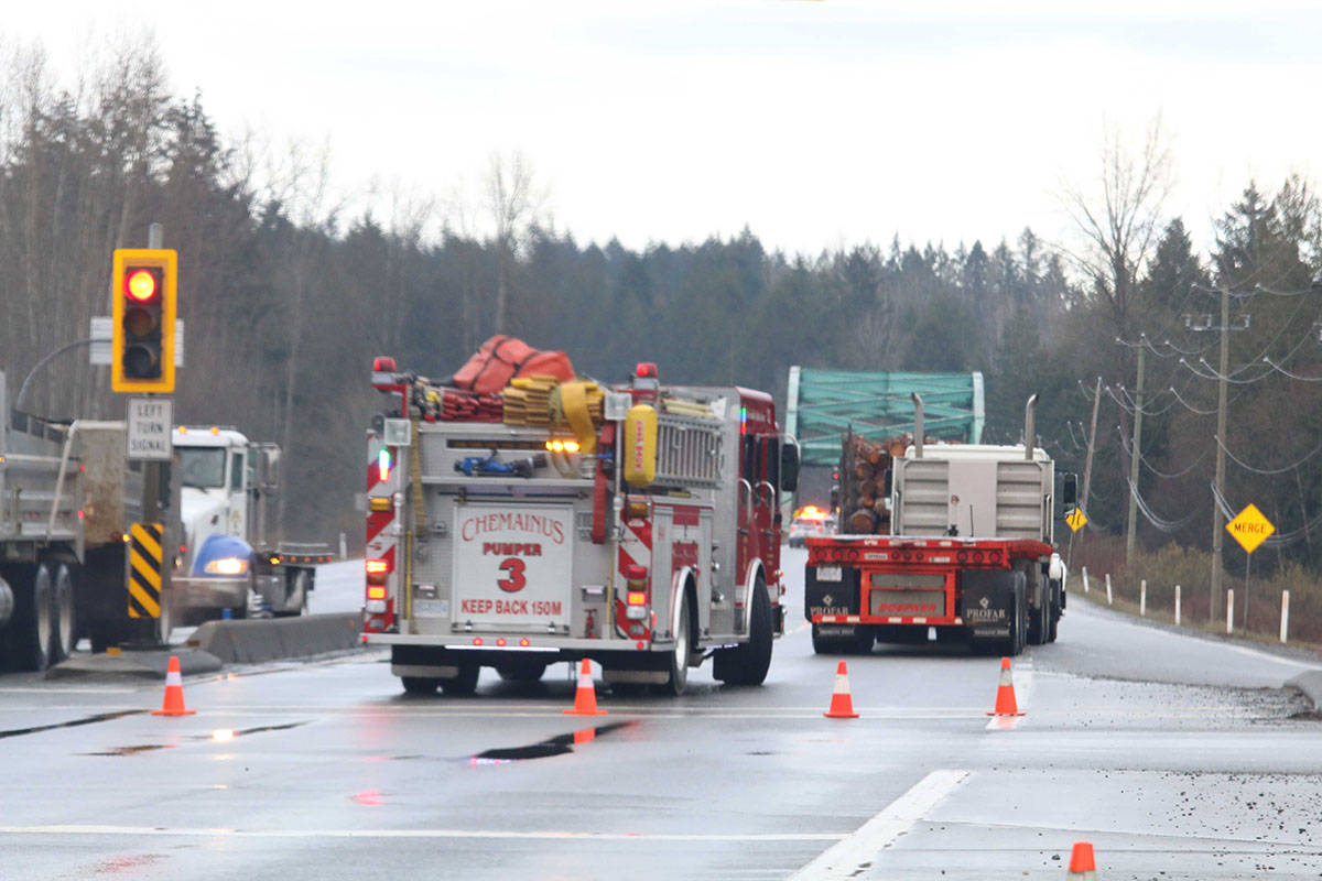 Chemainus firefighters were called to the scene of a pedestrian incident on the Trans-Canada Highway at Mount Sicker Road Wednesday, March 10, 2021. (Kevin Rothbauer/Citizen)