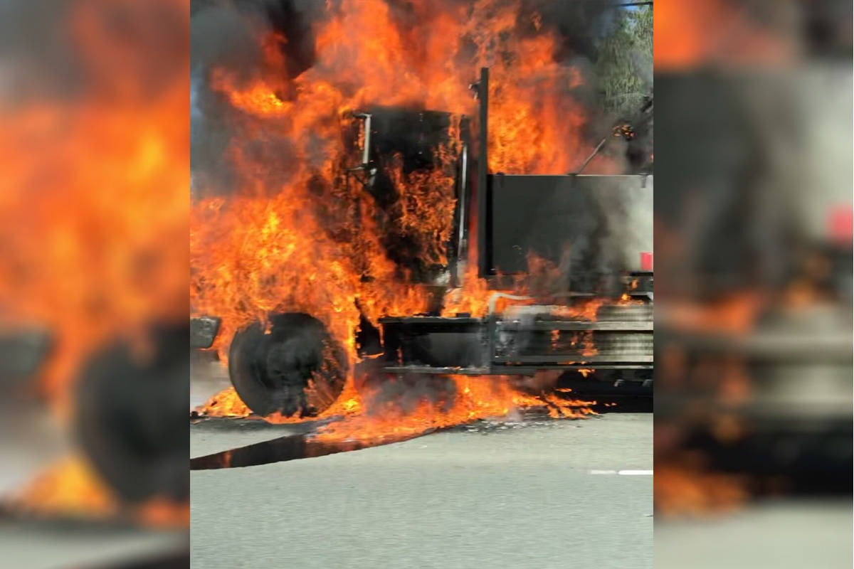 The driver of a semi-trailer walked away unscathed Tuesday morning after his truck burst into flames while driving down the Malahat. (Courtesy of Patrick O'Brien)