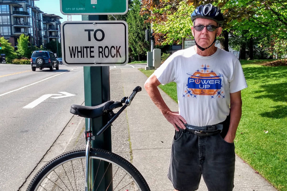 White Rock's Dal Fleischer said White Rock is one of his favourite places to ride his unicycle. (Contributed photo)