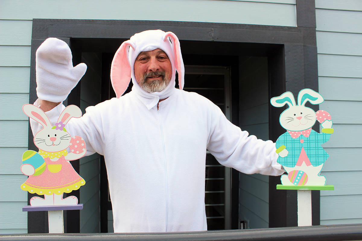 Doin' the wave will be more the procedure than closer contact with the Easter bunny during the Crofton kids' Easter drive-by bunny hop. It takes place Saturday, April 3 in Crofton. (Photo by Don Bodger)