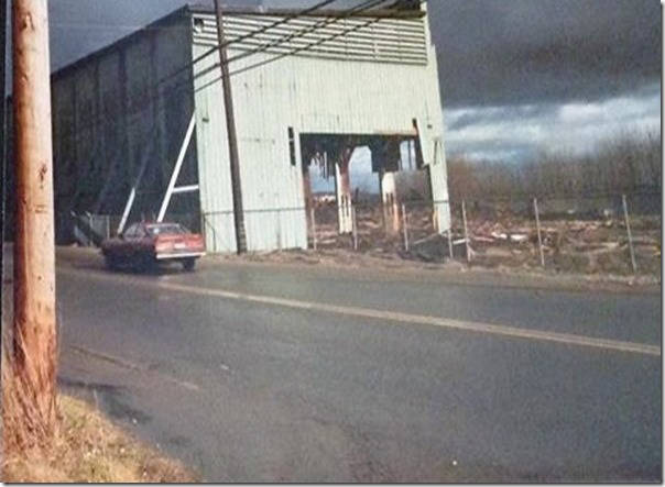 The old Chemainus sawmill loading shed being torn down. (Photo courtesy Chemainus Valley Museum)