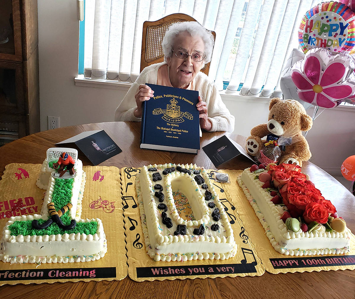 Among the items that Dorothy Agnew of Abbotsford received for her recent 100th birthday were gifts from the Abbotsford Police Department and a special cake. (Submitted photo)