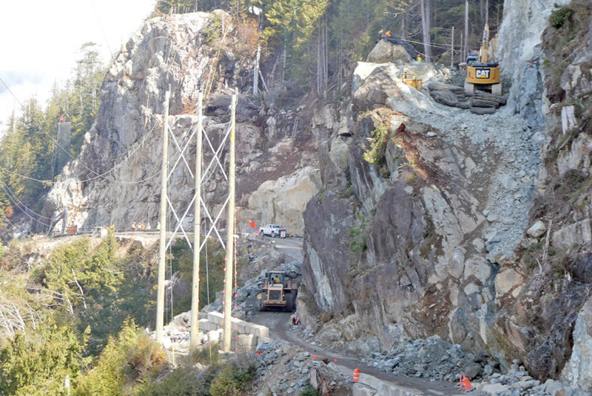 Hwy. 4 was shut down in both directions for 10 hours on March 23 as a rock bluff was blasted as part of Kennedy Hill's ongoing construction. Commuters can expect five more 10 hour closures on five consecutive Wednesdays beginning April 28. (Photo courtesy of Ministry of Transportation and Infrastructure)