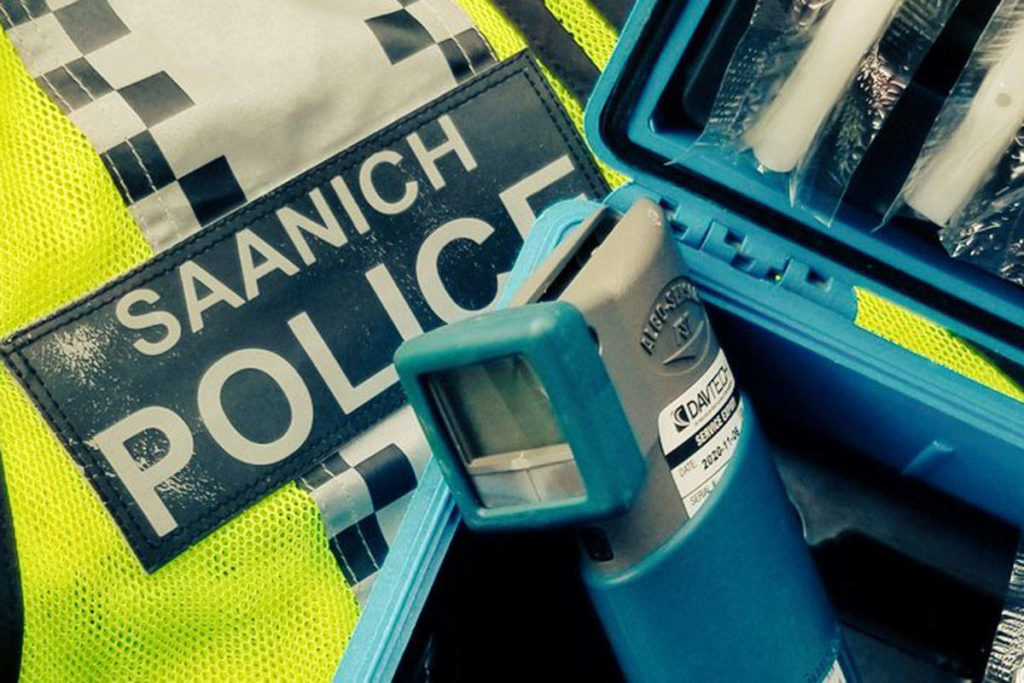 A driver stopped by Saanich police following a road rage incident on April 15 was found to be impaired, in violation of a license restriction and in a damaged vehicle. They received a 90-day driving prohibition and a 30-day vehicle impound. (Saanich Police Traffic Safety Unit/Twitter)