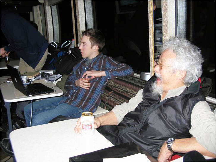 Having a beer on the road with David Suzuki. (Photo submitted)