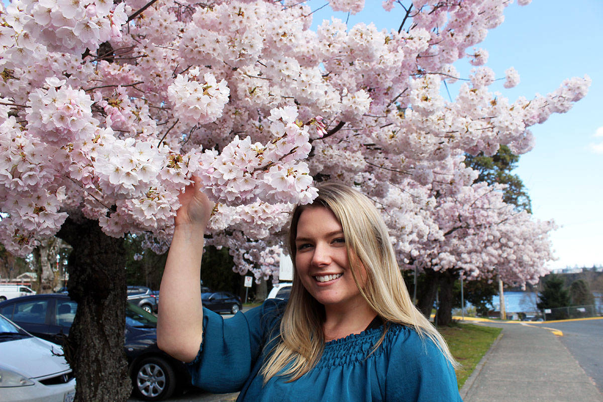 There are cherry blossoms everywhere on the trees in downtown Chemainus surrounding Emily Weeks, the managing director of the Chemainus & District Chamber of Commerce. (Photo by Don Bodger)