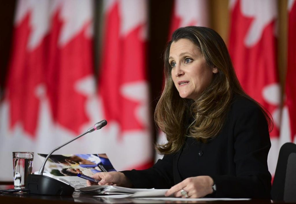 Finance Minister Chrystia Freeland holds a press conference in Ottawa on Tuesday, April 20, 2021. THE CANADIAN PRESS/Sean Kilpatrick