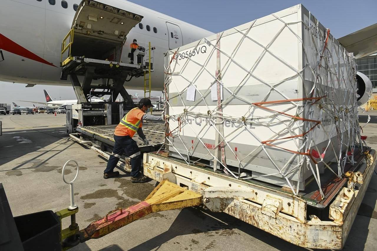 Airport ground crew offload a plane carrying just under 300,000 doses of the single-shot Johnson & Johnson COVID-19 vaccine at Pearson International Airport during the COVID-19 pandemic on Wednesday, April 28, 2021. THE CANADIAN PRESS/Nathan Denette