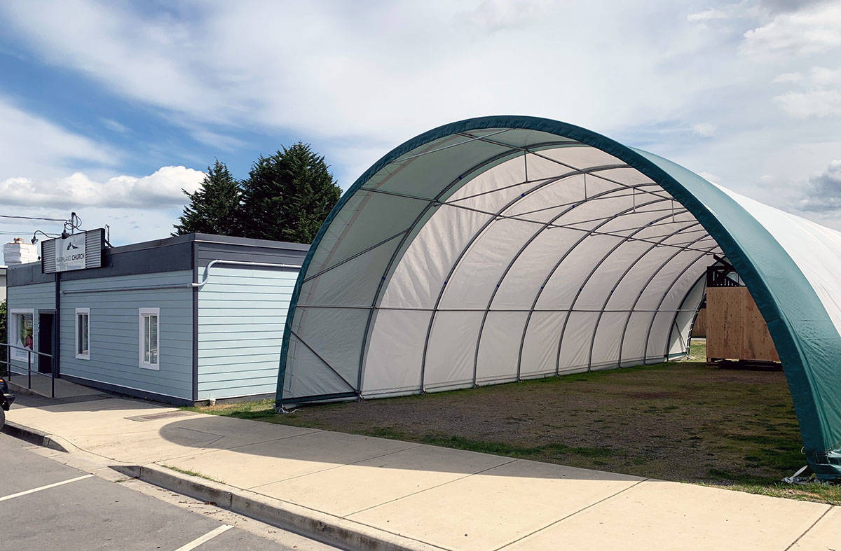 The temporary tent beside the Warmland Community Church. (Photo submitted)