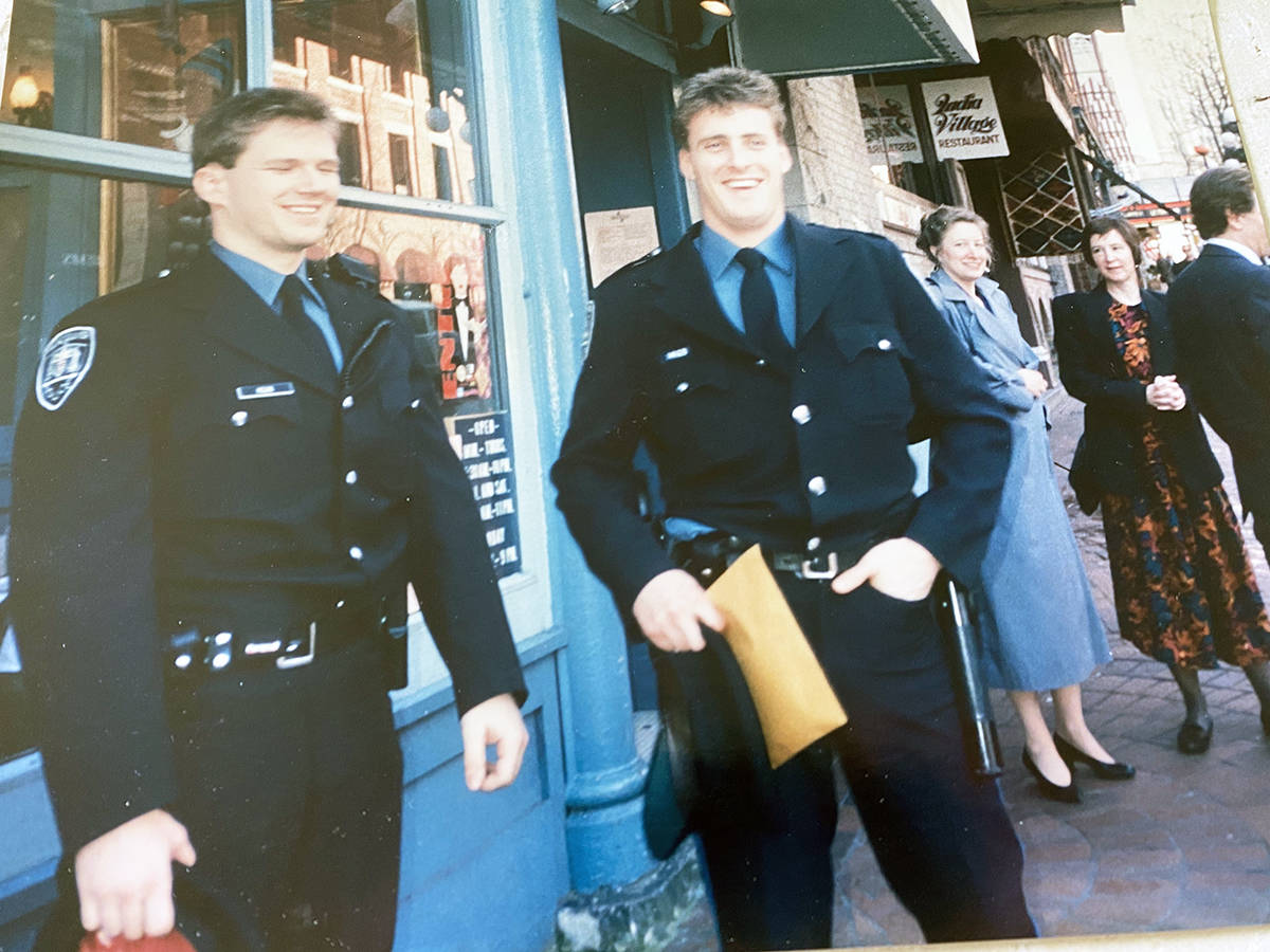 Toby Hinton with Const. Walt McKay on the Gastown beat in the 1990s. (Photo submitted)