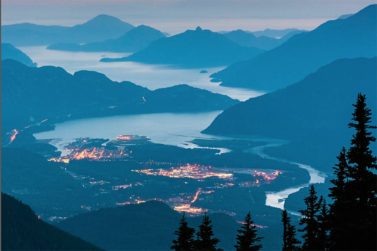 A detail of the cover of State of the Salish Sea, a comprehensive report by the Western Washington University-based Salish Sea Institute on the state of the Salish Sea ecosystem. The photo is a detail of Squamish Sunset by Yuri Choufour
