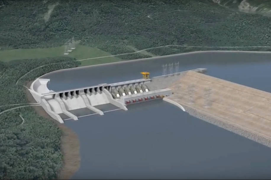 Artist's rendering of the Site C dam, the third hydro dam on the Peace River that started construction in 2015. (BC Hydrophoto)