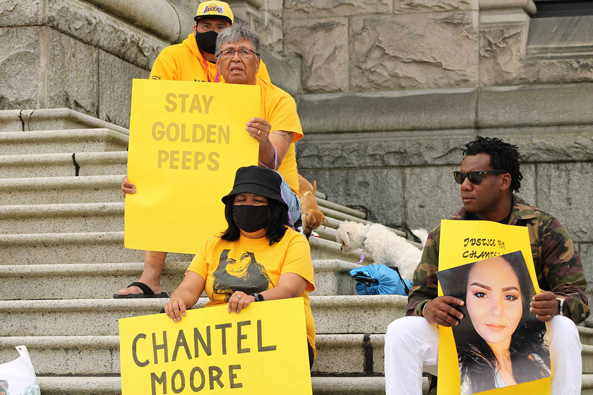Members of Chantel Moore's family gathered on the steps of the B.C. legislature on June 4. It was the first anniversary of the 26-year-old mother being fatally shot by a police officer in New Brunswick during what was supposed to be a wellness check. (Jake Romphf/News Staff)