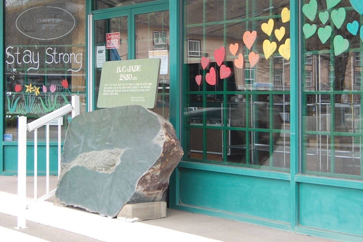 The jade boulder during happier times in May 2020, in its former spot outside the Cariboo Jade Shop. (Photo credit: Barbara Roden)