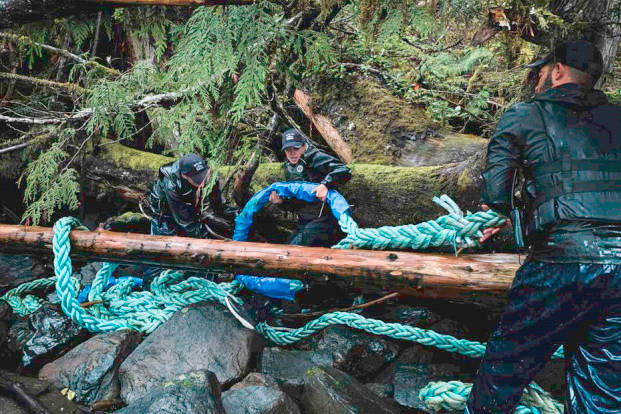 Crews with the $3.5-million provincially funded Marine Debris Removal Initiative remove discarded and lost gear from B.C.'s central coast in the summer of 2020. (Photo supplied by Simon Agar)