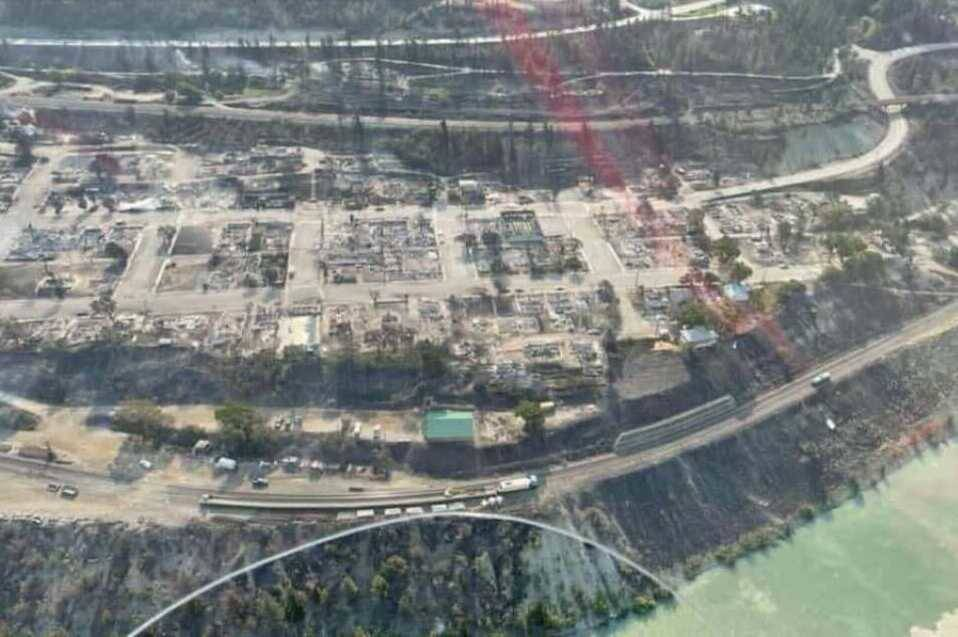 Aerial view of Lytton after blaze moves through village centre. (BCWS/Twitter)