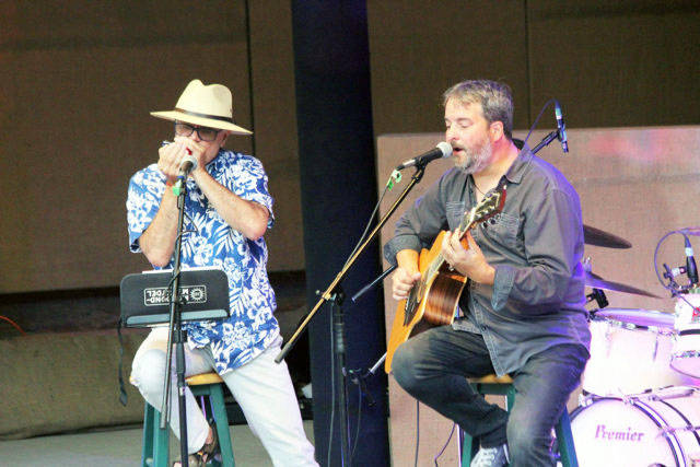 Mark Crissinger and Marty Howe perform at the two-day Chemainus Valley Blues Festival in 2019. (File photo by Don Bodger)