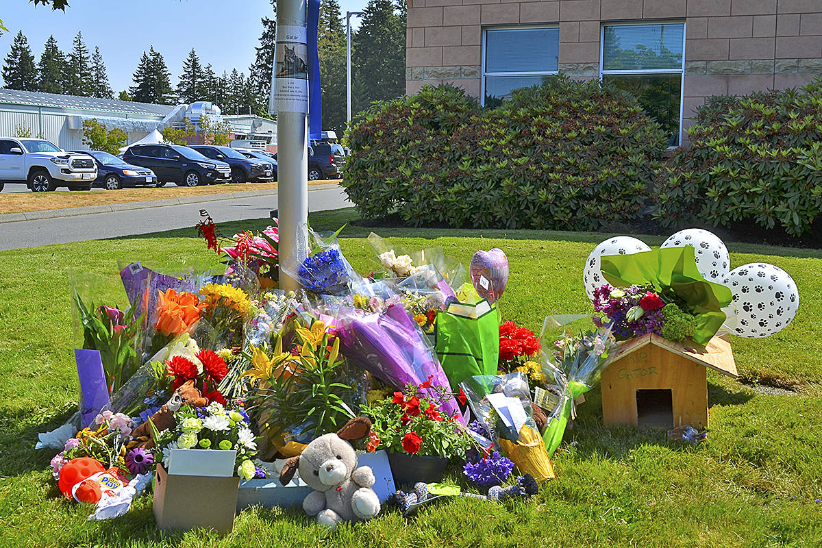 A memorial tribute to Police Service Dog Gator is growing at a the foot of a flagpole in front of the Campbell River RCMP detachment on July 9, 2021. Photo by Alistair Taylor/Campbell River Mirror