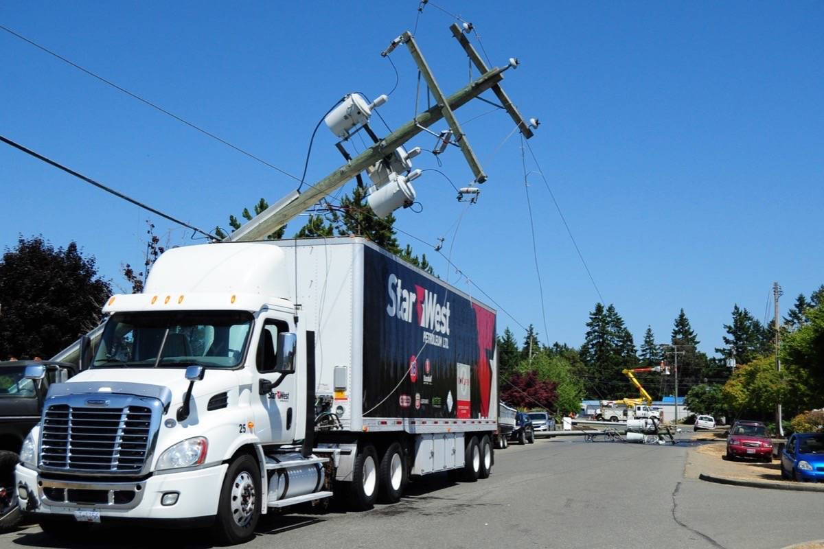 Three BC Hydro power lines were down near Herring Gull Way and Franklin's Gull Road in Parksville on Wednesday, July 14. (Michael Briones photo).