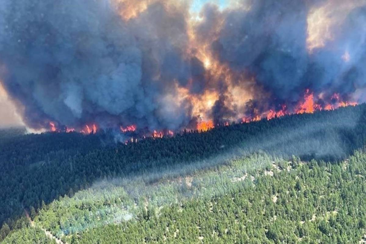 The out of control Sparks Lake fire burning forests on June 30, 2021. BC WILDFIRE SERVICE