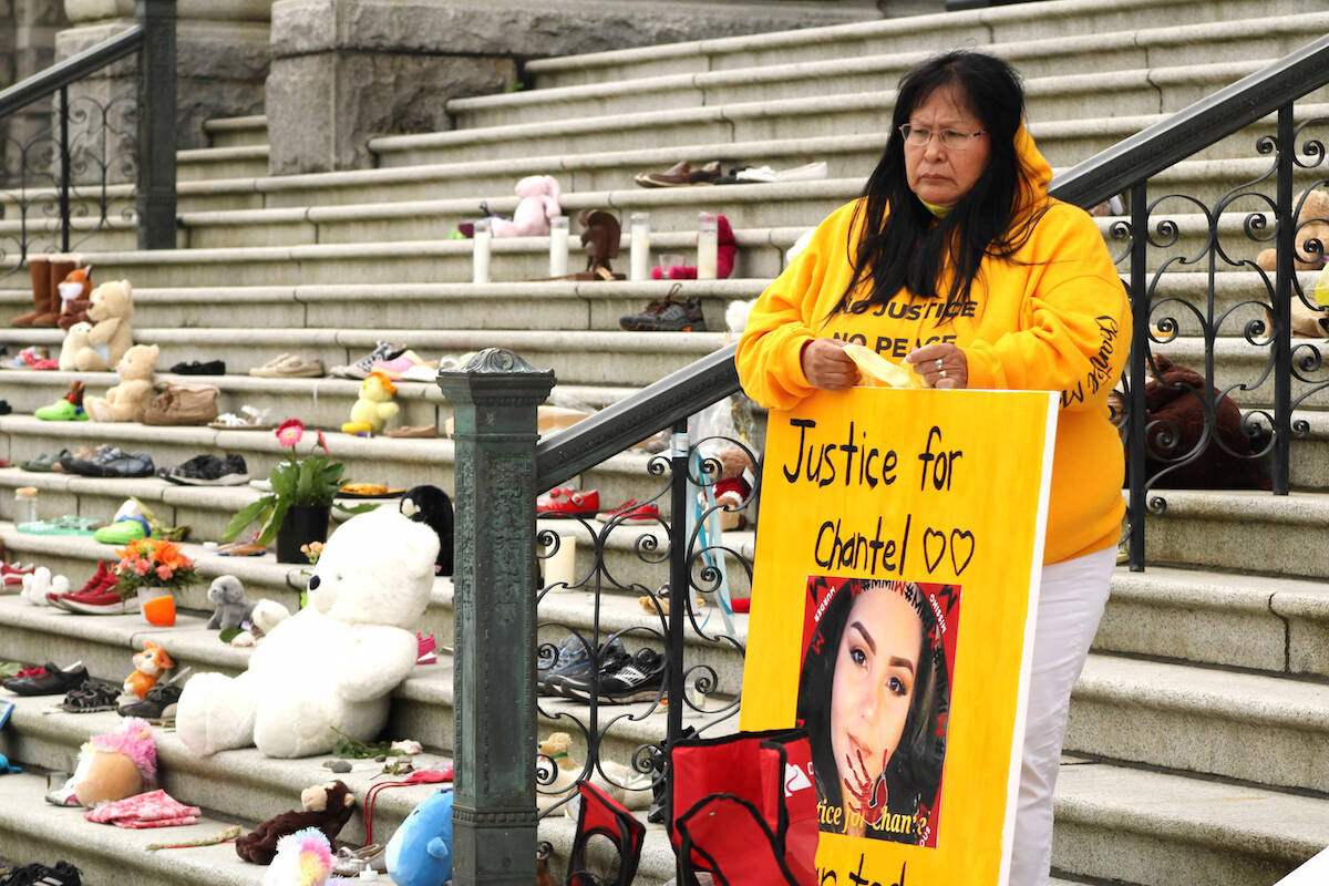 Members of Chantel Moore's family gathered on the steps of the B.C. legislature on June 4. It was the first anniversary of the 26-year-old mother being fatally shot by a police officer in New Brunswick during what was supposed to be a wellness check. (Black Press Media news staff)