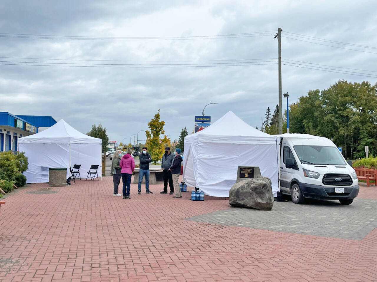 A pop up COVID-19 vaccine clinic at Rotary Park in Smithers is open for walk-ins for first and second doses of vaccine until 6 p.m. Friday and and at the Smithers arena Saturday, Sept. 25, 10 a.m. to 4 p.m. (Deb Meissner/Interior News)